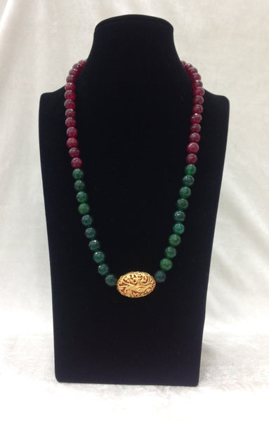 Decorative Geru Beads With Ruby Red and Green Necklace