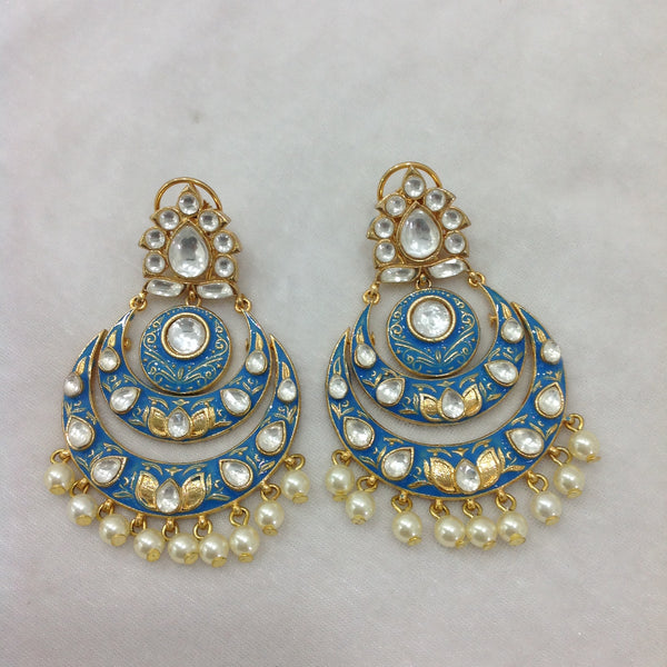 Joyous Blue Enamel Kundan & Pearl Chandbali Earrings