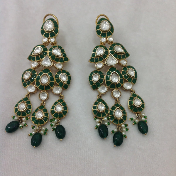 Glamorous Green Long Jhumka Earrings