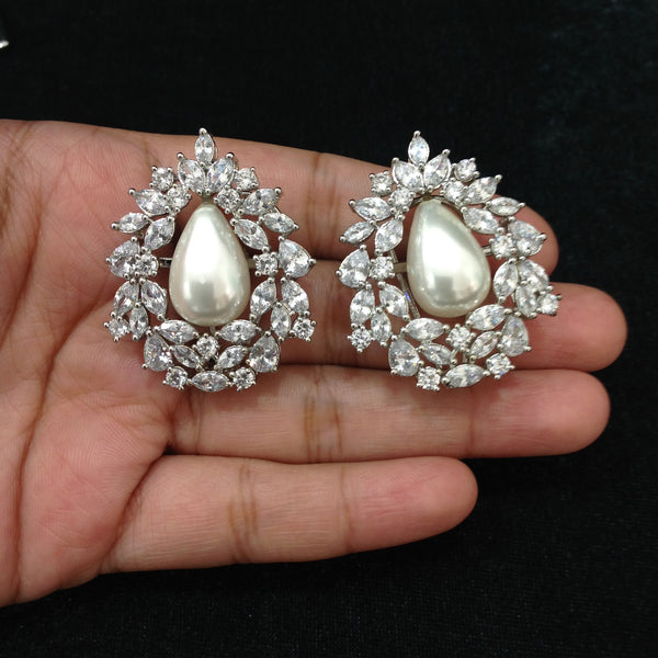 Droplet of Pearl in the Heart of Crystals Earrings