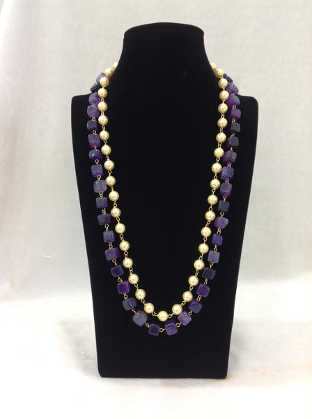Violet and Pearls Necklace