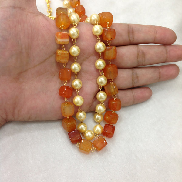 Orangish Red and Pearl Necklace