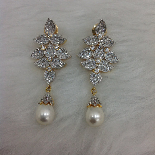White and Gold Tripartite Pearl Dangler Earrings