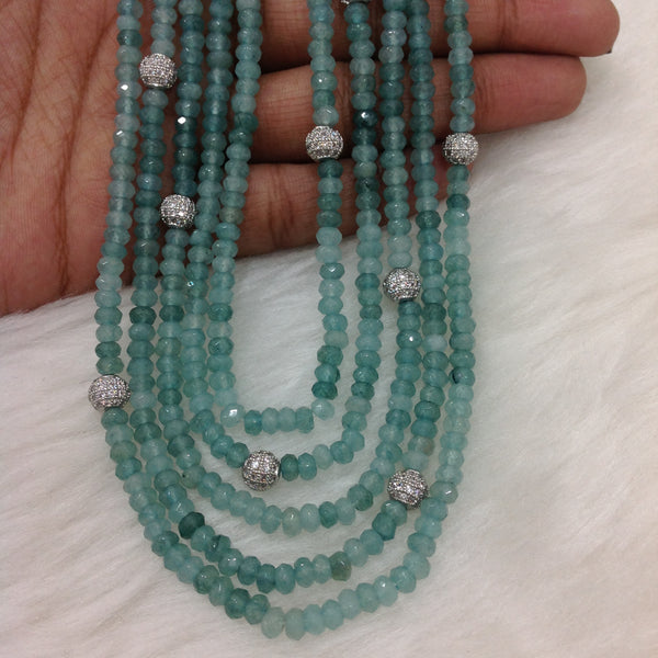 Light Blue Five Stranded Necklace Set