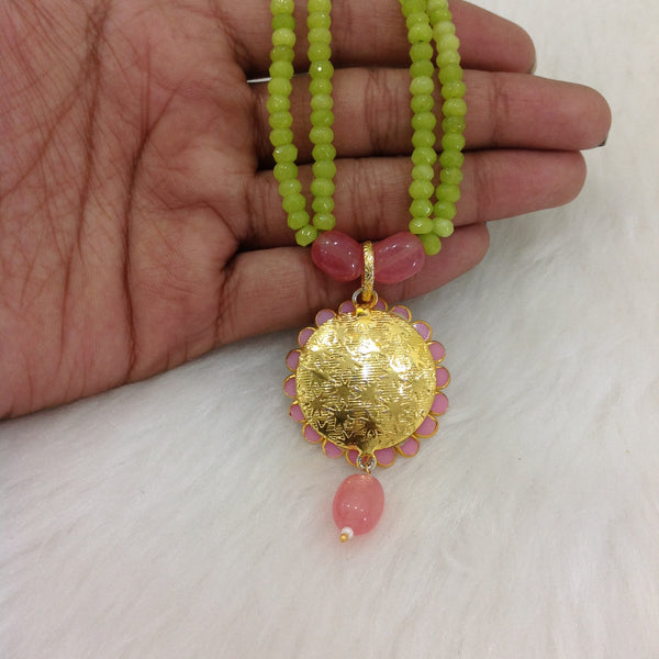 Two Stranded Lime Green with Handcarved Pendant and Pink Lemonade Necklace Set