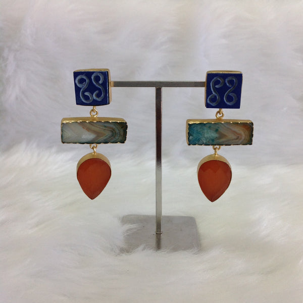 Voilet Green and Orange Statement Earrings