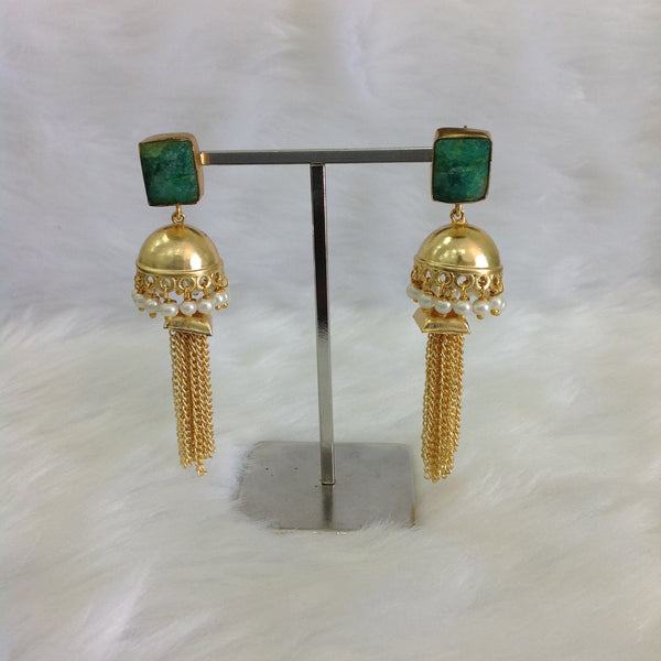 Emerald Green Golden Dressy Earrings