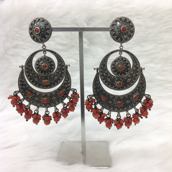 Ornamental Red Silver Chandbaali Earrings