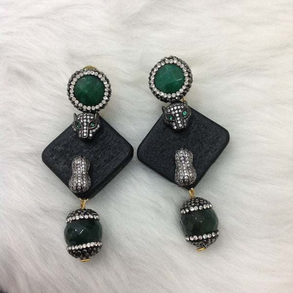 Black Block and Dark Green Earrings