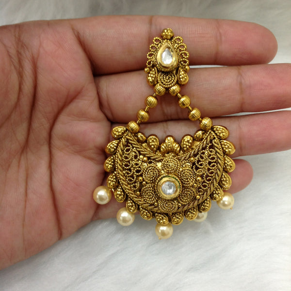 Golden Chandbali Kundan Earrings