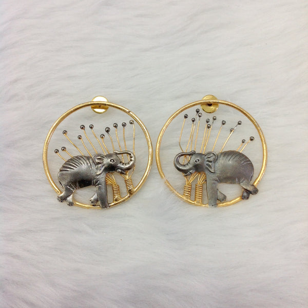 Elephant in the Gold Spherules Earrings