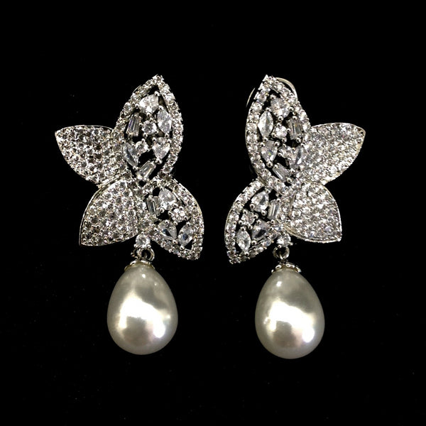 Magnificent Butterfly Crystal And Pearls Damsel Earrings