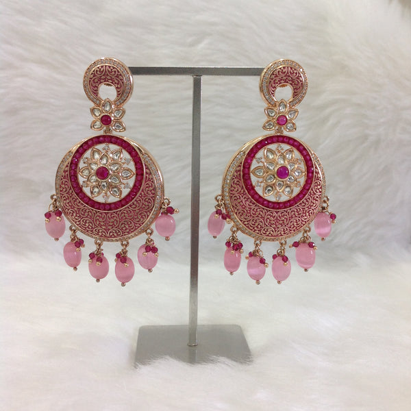 Monalisa Pink Meena Floral Jhumka Earrings