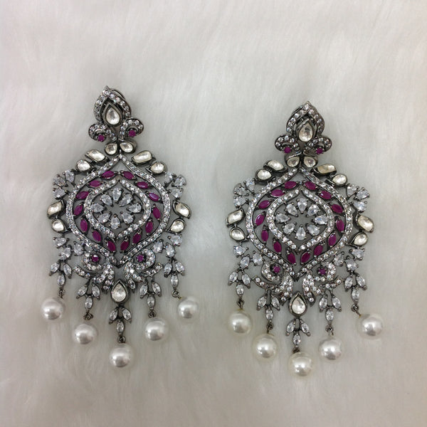 Pink and Silver Cubic Zircon Earrings