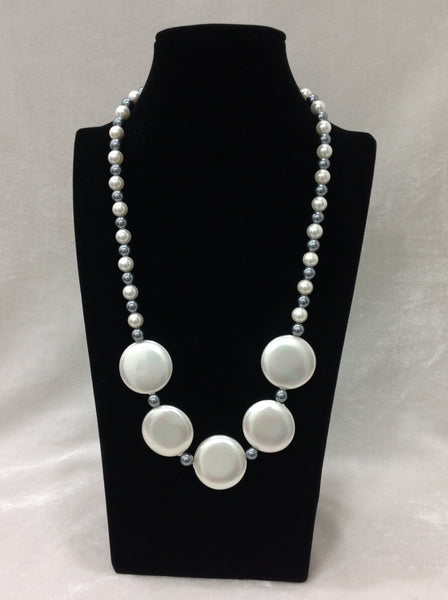 Artisanal Silver Shell Pearls Necklace