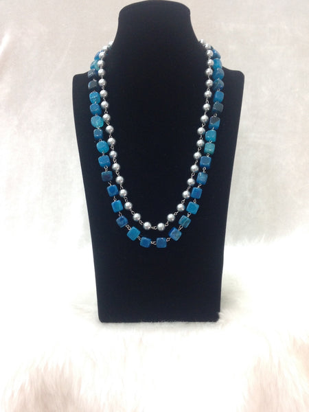 Oceanic Blue Silver Pearl Necklace