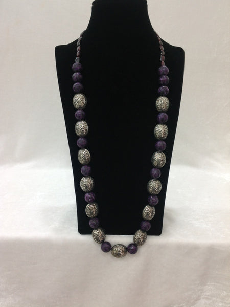 Purple & Handcarved Silvery Necklace