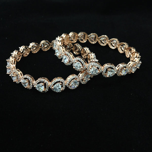 Royal Heart of Rose Gold & Crystal Bangles