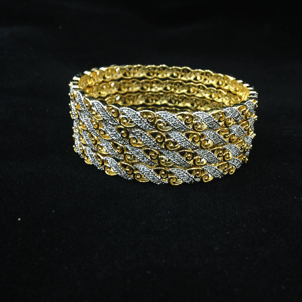 Waves of Gold and Crystal Bangles