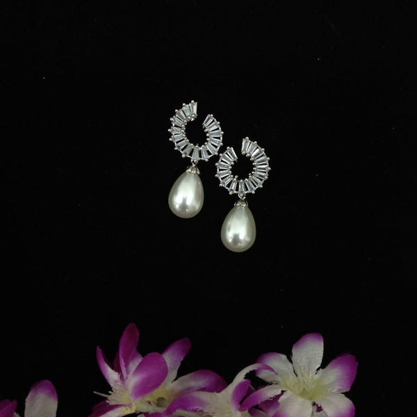 Stunning Zircons with Pearl Dangle Earrings