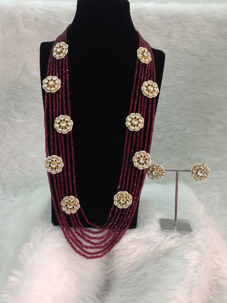 Multi-stranded Maroon Kundan Necklace Set
