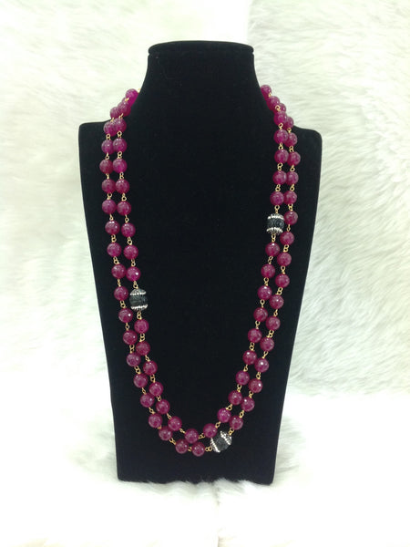 Exotic Magenta Purple Gemstones Necklace