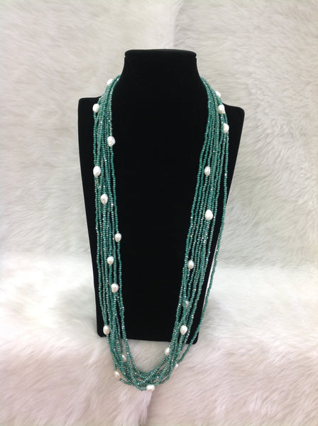 Multi-stranded Green & Freshwater Pearl Necklace