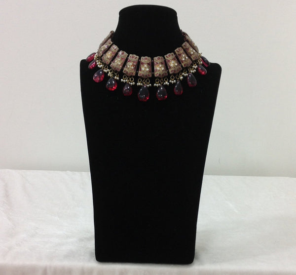 Berry Marron with Minakari Choker Necklace Set