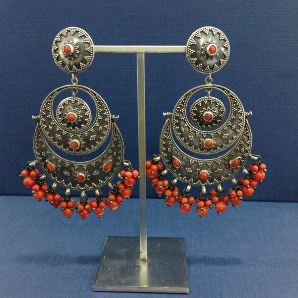 Ornamental Red Silver Chandbaali Long Earrings