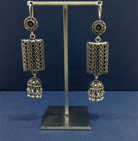 Vintage Silver Charm Long Earrings