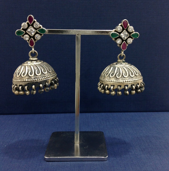 Silver Sparkle Fiesta Jhumka Earrings