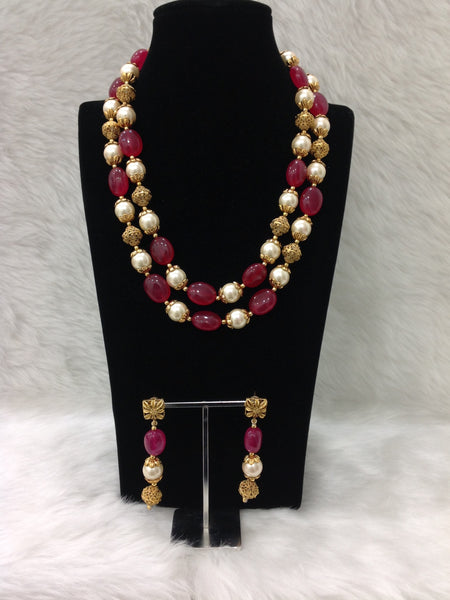 Handcarved Golden Ruby Red Pearls Necklace Set