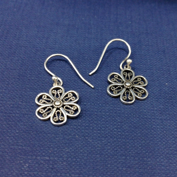 Small Flower Design 925 Silver Drop Earrings