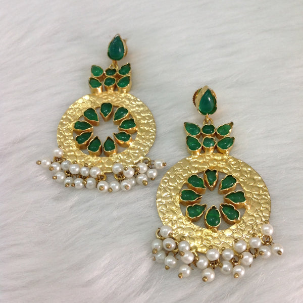 Emerald Green and Gold Round Dangler Gemstone Chandbali Earrings