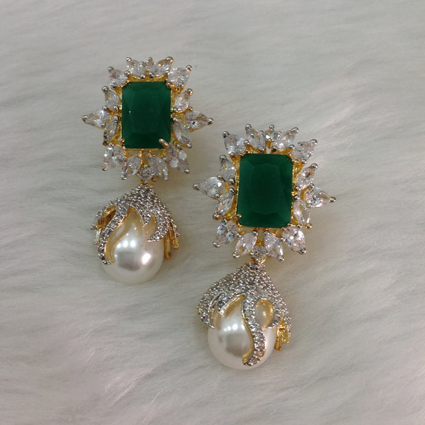 Crystalline White Green Plum Earrings