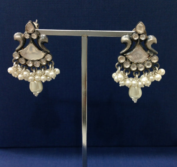 Arc of Beauty Pearl and Silver Drop Earrings