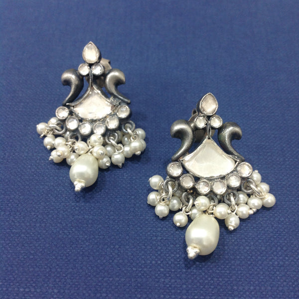 Arc of Beauty Pearl and Silver Earrings