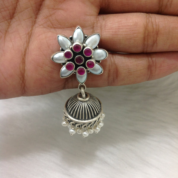 Floral Elegance in Silver Jhumka Earrings