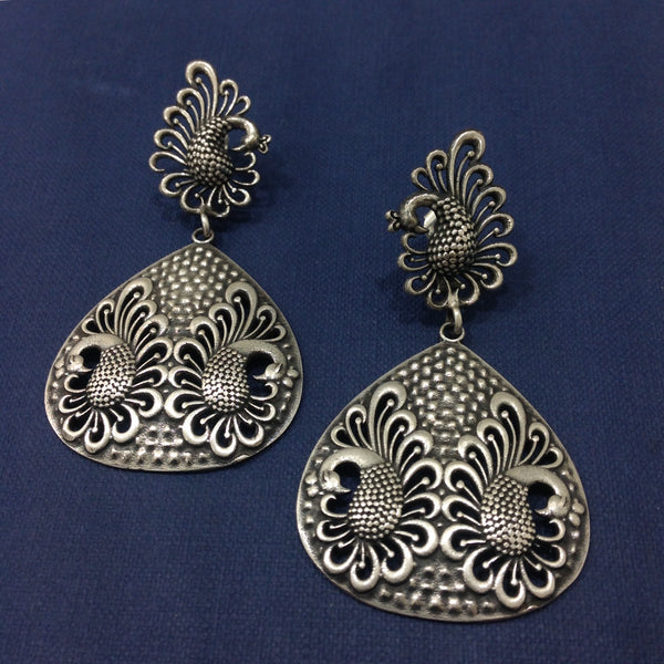 Twin Peacock Silver Earrings