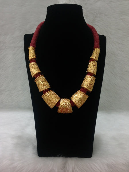 Bright Charm in Maroon and Gold Necklace