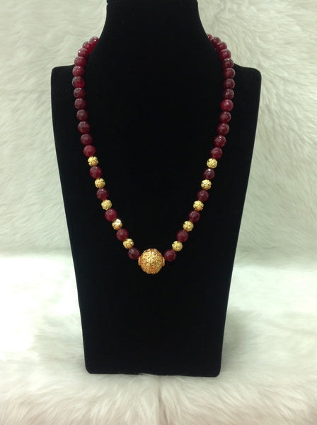 Joyous Geru Maroon Golden Necklace