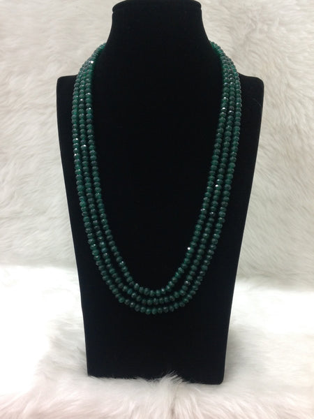 Majestic Emerald Green 3 Stranded Necklace