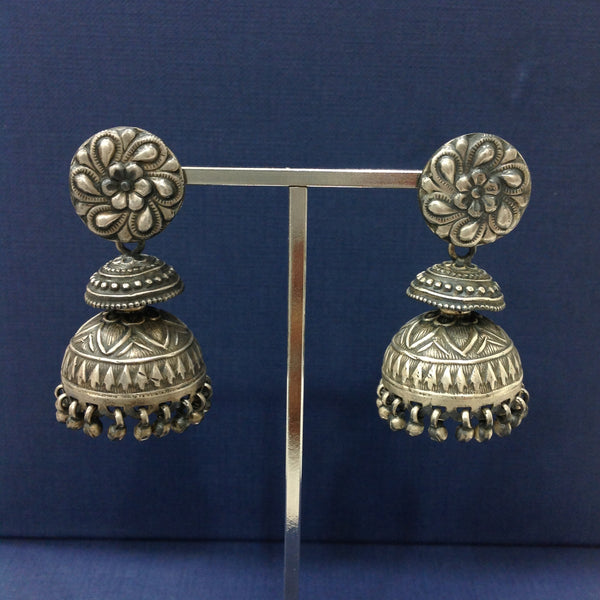 Silver Splendour Jhumka Earrings