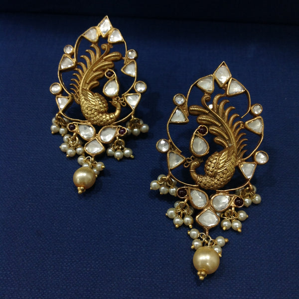 Exquisite Peacock and Kundan Silver Earrings