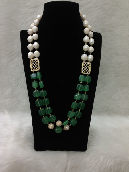 Emerald Green Baroque Pearls Necklace