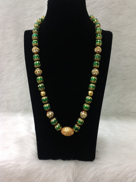 Gracious Green Geru Beads Gemstone Necklace