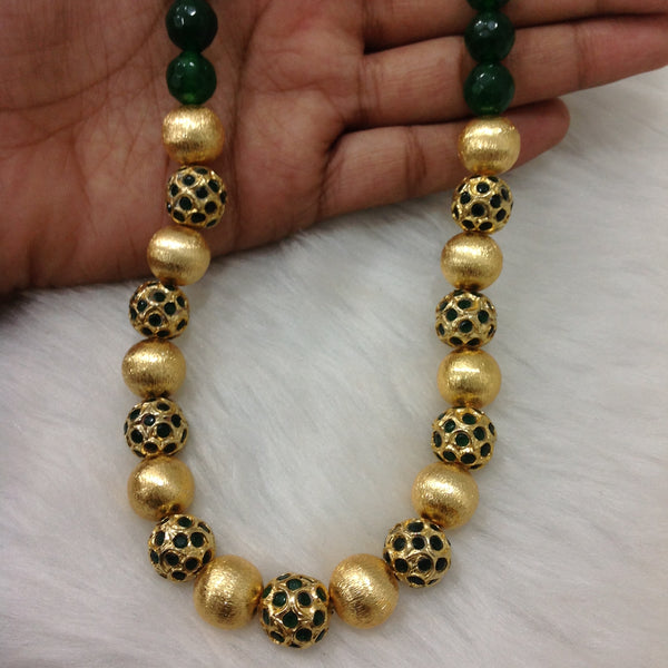 Beauteous Green and Golden Beads Necklace