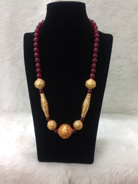Gorgeous Geru Beads with Red Gemstone Necklace