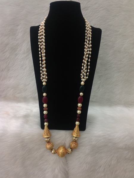 Grace of Pearls With Handcarved Geru Beads Necklace