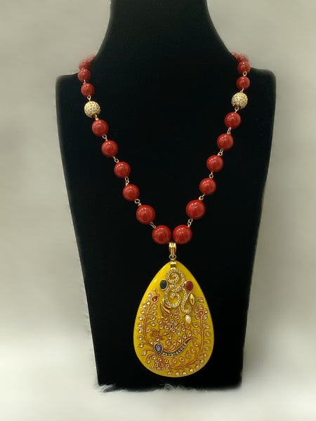 Lemon Handworked Pendant With Synthetic Beads Necklace